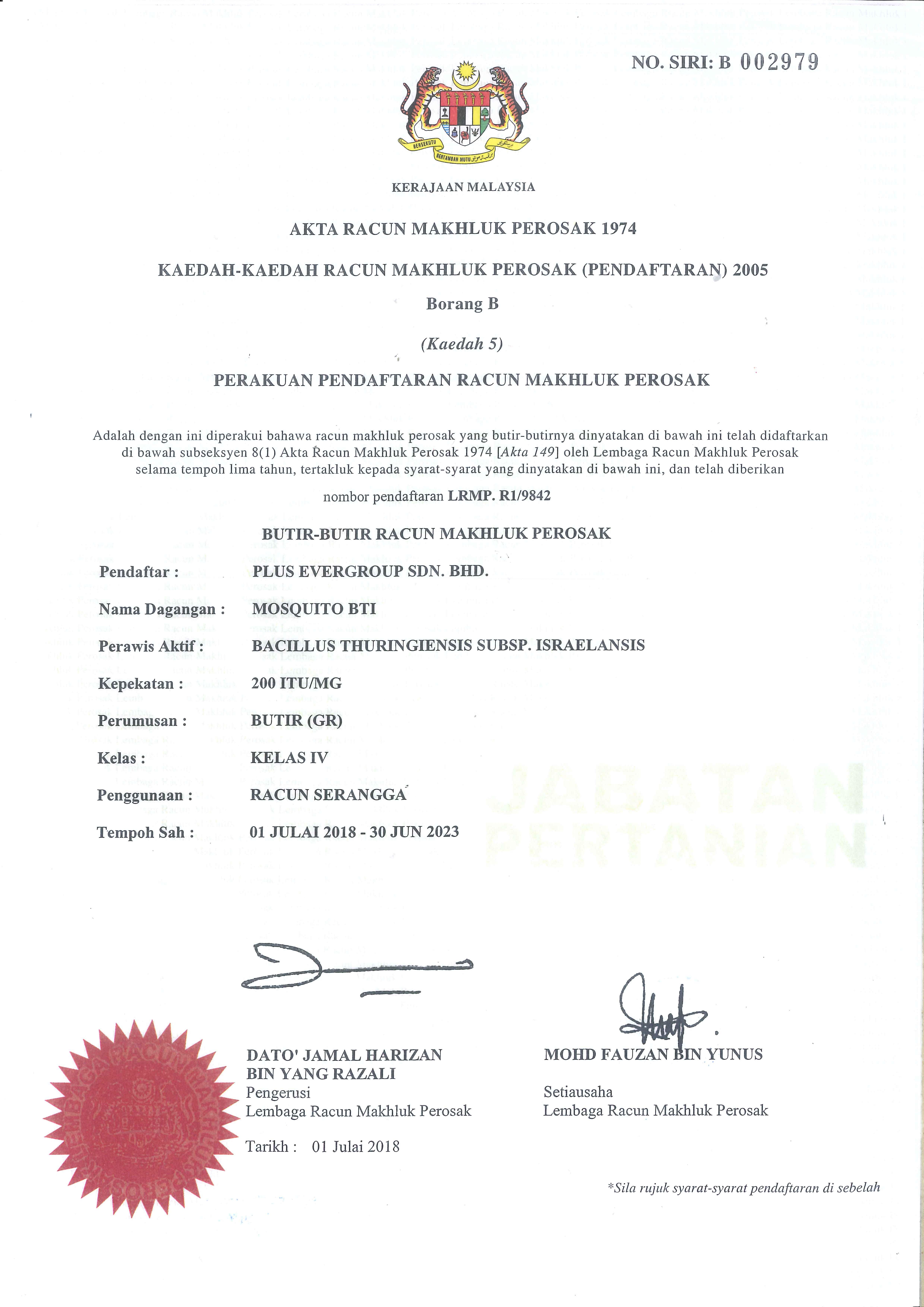 Lembaga Racun Makhluk Perosak Mosquito BTI License LRMP.R1/9843